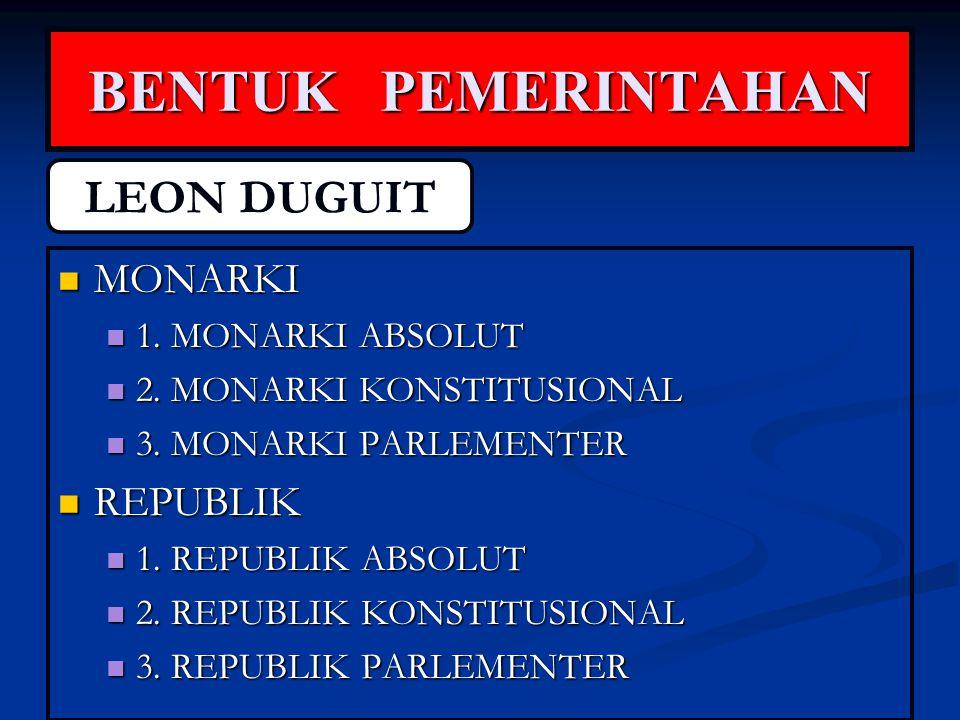 BENTUK PEMERINTAHAN MONARKI MONARKI 1. MONARKI ABSOLUT 1. MONARKI ABSOLUT 2. MONARKI KONSTITUSIONAL 2. MONARKI KONSTITUSIONAL 3. MONARKI PARLEMENTER 3
