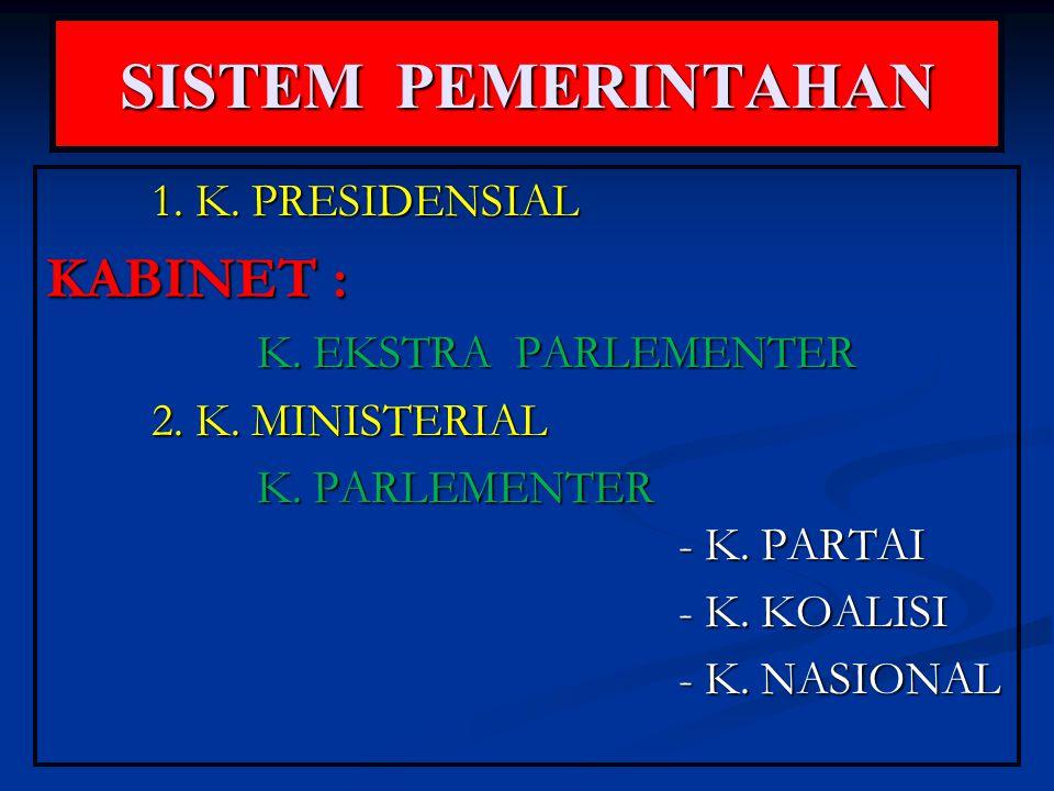 SISTEM PEMERINTAHAN 1. K. PRESIDENSIAL KABINET : K. EKSTRA PARLEMENTER 2. K. MINISTERIAL K. PARLEMENTER - K. PARTAI - K. KOALISI - K. NASIONAL