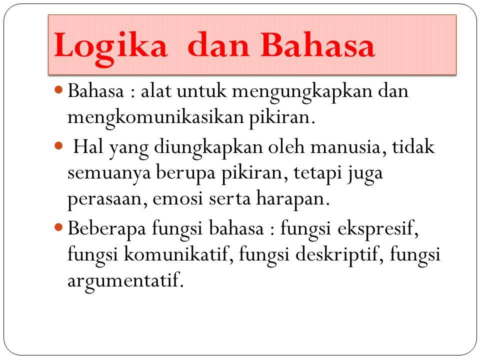 Logika dan Bahasa Bahasa : alat untuk mengungkapkan dan mengkomunikasikan pikiran. Hal yang diungkapkan oleh manusia, tidak semuanya berupa pikiran, t