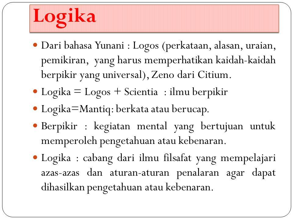 Logika Dari bahasa Yunani : Logos (perkataan, alasan, uraian, pemikiran, yang harus memperhatikan kaidah-kaidah berpikir yang universal), Zeno dari Ci