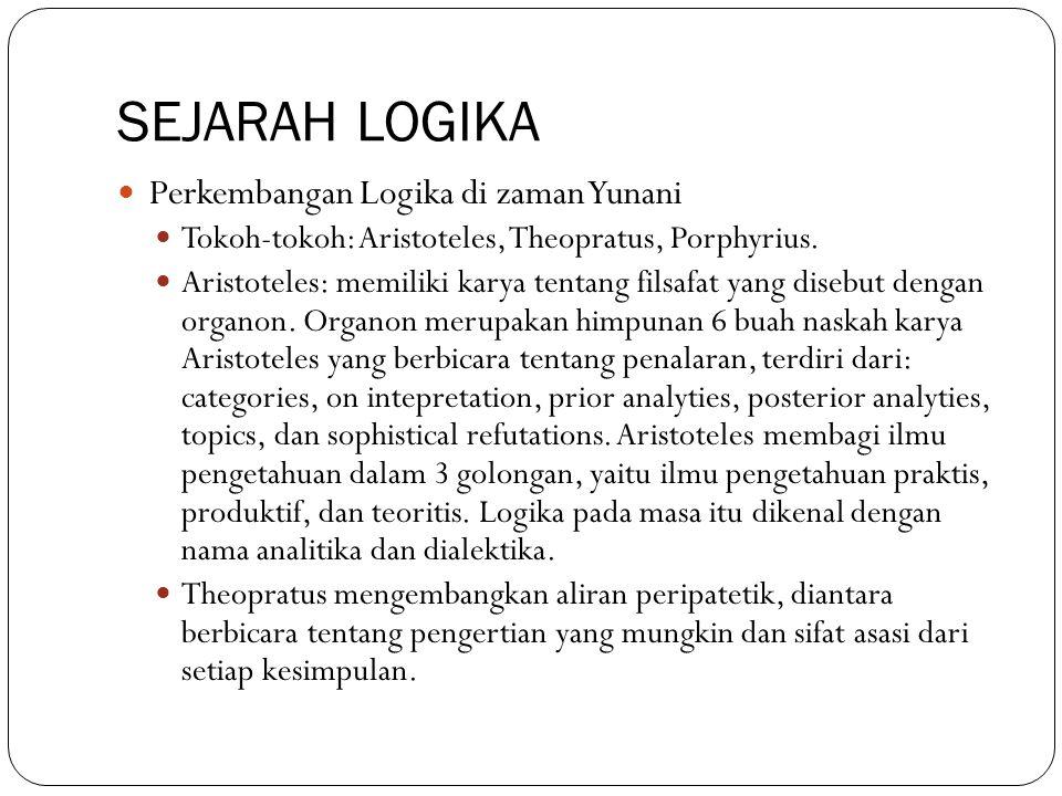 SEJARAH LOGIKA Perkembangan Logika di zaman Yunani Tokoh-tokoh: Aristoteles, Theopratus, Porphyrius. Aristoteles: memiliki karya tentang filsafat yang