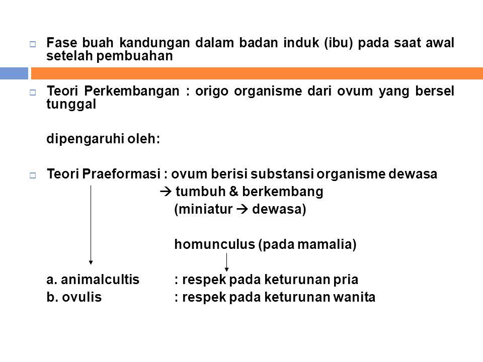  Fase buah kandungan dalam badan induk (ibu) pada saat awal setelah pembuahan  Teori Perkembangan : origo organisme dari ovum yang bersel tunggal di