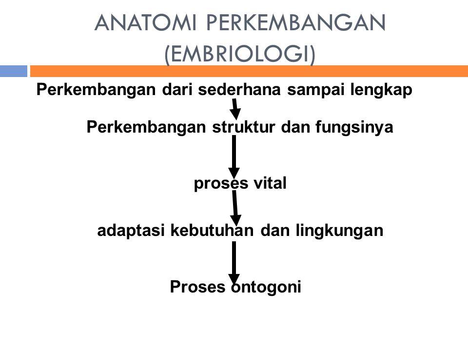 ANATOMI PERKEMBANGAN (EMBRIOLOGI) Perkembangan dari sederhana sampai lengkap Perkembangan struktur dan fungsinya proses vital adaptasi kebutuhan dan l