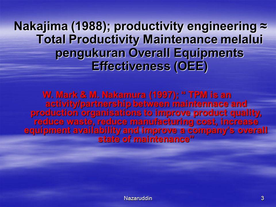 Nazaruddin3 Nakajima (1988); productivity engineering ≈ Total Productivity Maintenance melalui pengukuran Overall Equipments Effectiveness (OEE) W. Ma
