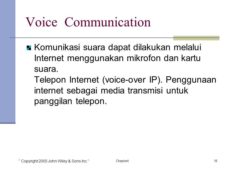 Copyright 2005 John Wiley & Sons Inc. 16Chapter4 Voice Communication Komunikasi suara dapat dilakukan melalui Internet menggunakan mikrofon dan kartu suara.