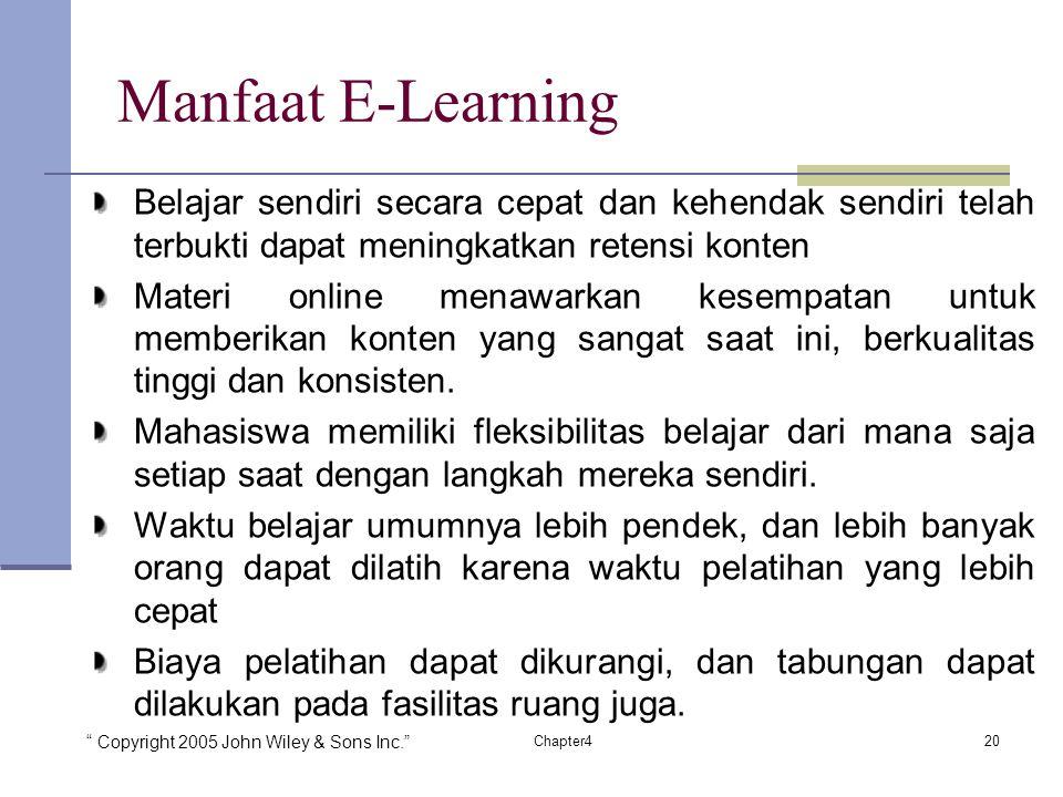 """"""" Copyright 2005 John Wiley & Sons Inc."""" 20Chapter4 Manfaat E-Learning Belajar sendiri secara cepat dan kehendak sendiri telah terbukti dapat meningka"""