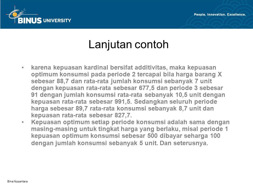 Bina Nusantara Lanjutan contoh karena kepuasan kardinal bersifat additivitas, maka kepuasan optimum konsumsi pada periode 2 tercapai bila harga barang