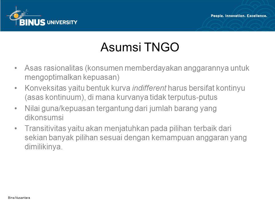 Bina Nusantara Asumsi TNGO Asas rasionalitas (konsumen memberdayakan anggarannya untuk mengoptimalkan kepuasan) Konveksitas yaitu bentuk kurva indiffe