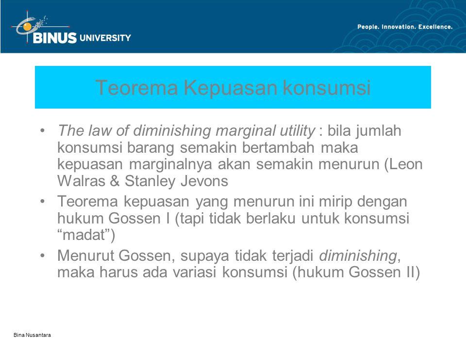Bina Nusantara Teorema Kepuasan konsumsi The law of diminishing marginal utility : bila jumlah konsumsi barang semakin bertambah maka kepuasan margina