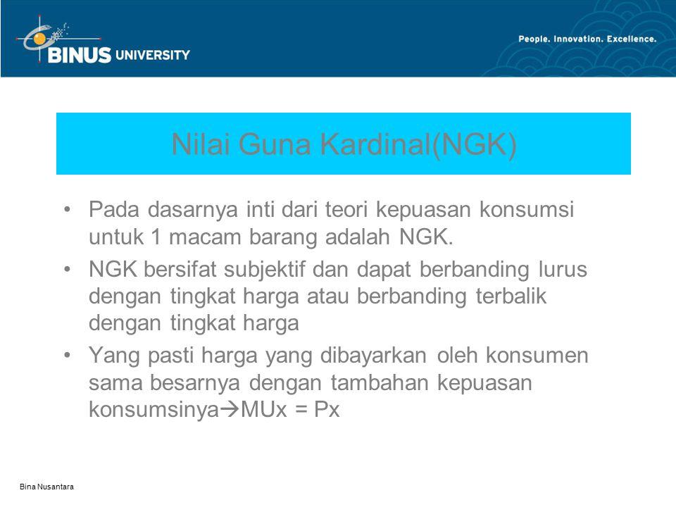 Bina Nusantara NGO dalam Kurva U = X.Y = 50.10 = 500 U = 500 X Y 50 10 20 100 Skema kepuasan : 1.Bila x = 5, y = 100  U =500, tapi anggarannya sebesar 1000(5)+5000(100) = 505.000.