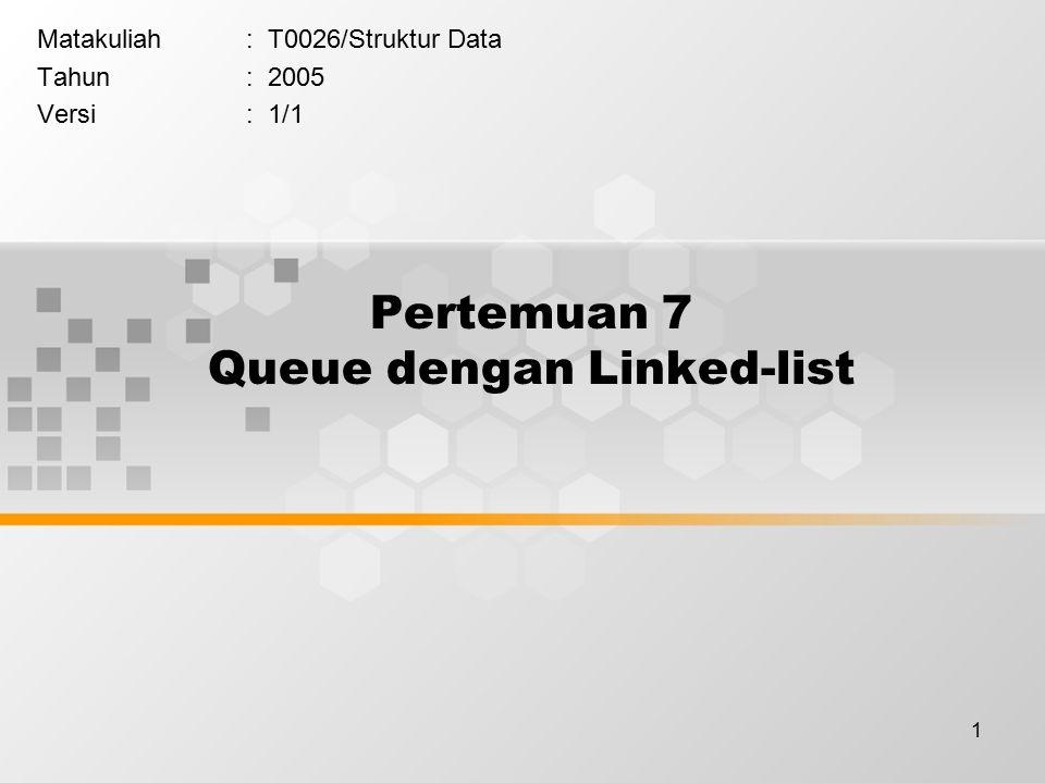 1 Pertemuan 7 Queue dengan Linked-list Matakuliah: T0026/Struktur Data Tahun: 2005 Versi: 1/1