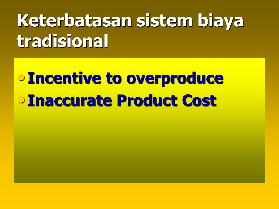 Keterbatasan sistem biaya tradisional Incentive to overproduce Incentive to overproduce Inaccurate Product Cost Inaccurate Product Cost