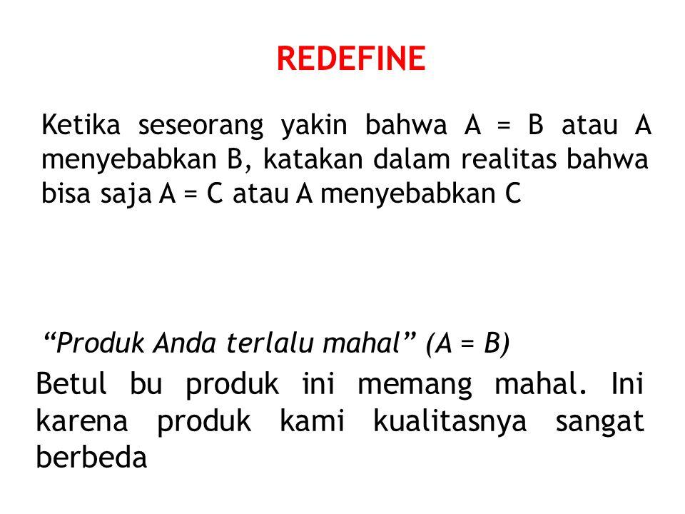 REDEFINE Ketika seseorang yakin bahwa A = B atau A menyebabkan B, katakan dalam realitas bahwa bisa saja A = C atau A menyebabkan C Produk Anda terlalu mahal (A = B) Betul bu produk ini memang mahal.