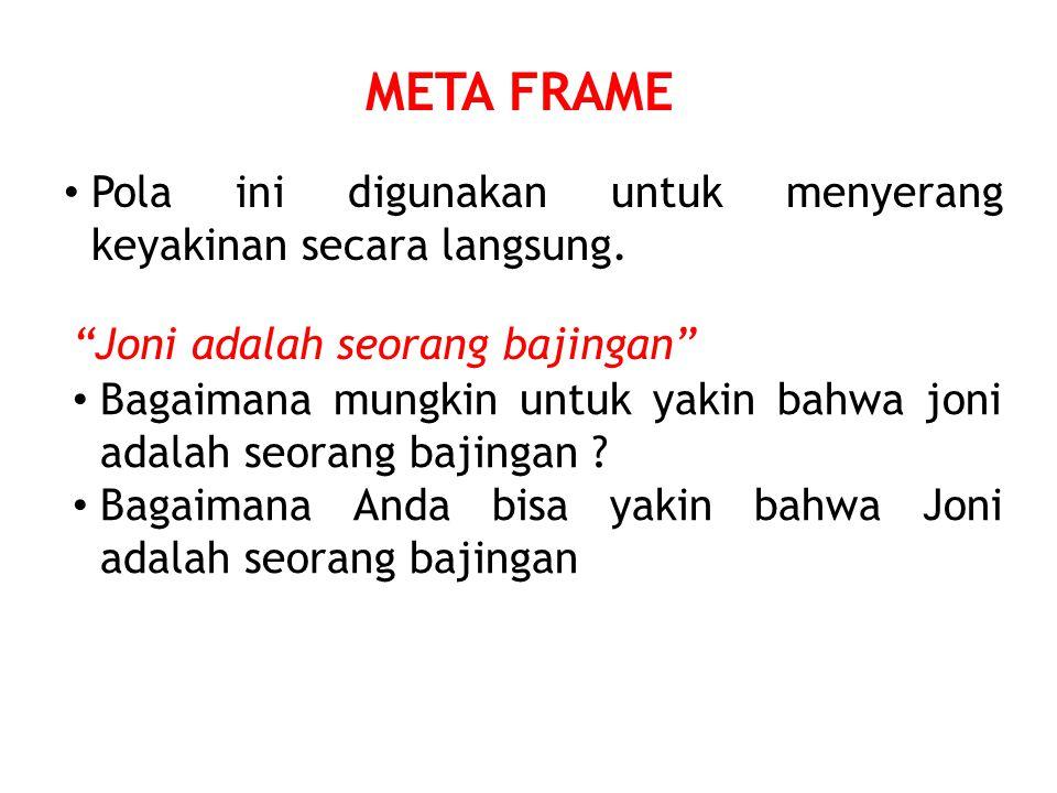 META FRAME Pola ini digunakan untuk menyerang keyakinan secara langsung.