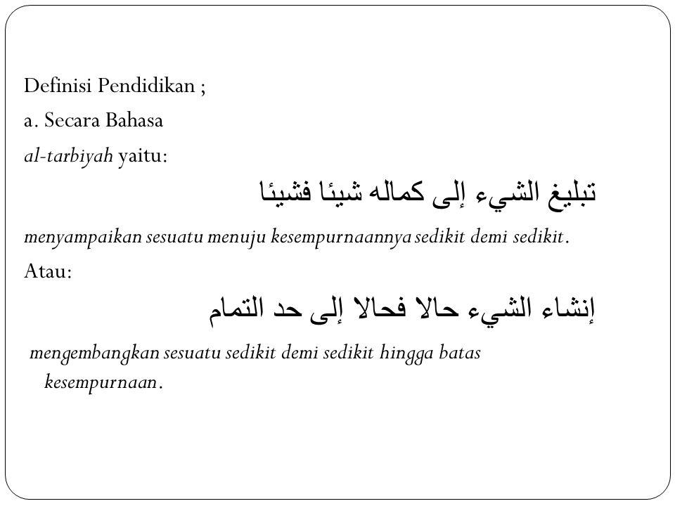 Definisi Pendidikan ; a.