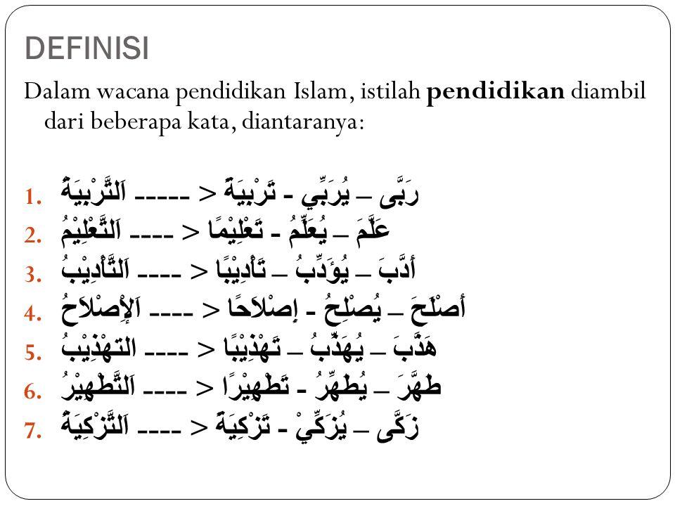 DEFINISI Dalam wacana pendidikan Islam, istilah pendidikan diambil dari beberapa kata, diantaranya: 1.