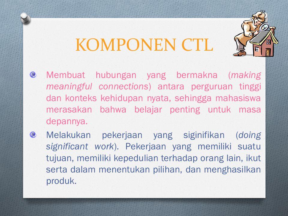 PENGERTIAN CTL Pembelajaran/pengajaran kontekstual merupakan suatu proses pendidikan yang holistik dan bertujuan membantu mahasiswa untuk memahami makna materi pelajaran yang dipelajarinya dengan mengkaitkan materi tersebut dengan konteks kehidupan mereka sehari-hari (konteks pribadi, sosial dan kultural), sehingga mahasiswa memiliki pengetahuan/keterampilan yang secara fleksibel dapat diterapkan (ditransfer) dari satu permasalahan/konteks ke permasalahan/-konteks lainnya.