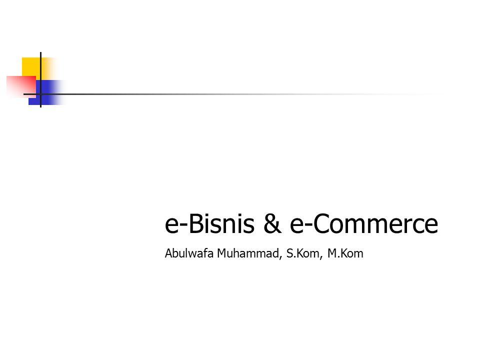E-bisnis E-bisnis (Inggris: Electronic Business, atau E-business ) dapat diterjemahkan sebagai kegiatan bisnis yang dilakukan secara otomatis dan semiotomatis dengan menggunakan sistem informasi komputer.Inggrissistem informasi  Sistem informasi: – kumpulan orang, data, proses, dan teknologi informasi yang berinteraksi untuk mengumpulkan, memproses, menyimpan, dan menyediakan informasi yang dibutuhkan untuk mendukung suatu organisasi Istilah yang pertama kali diperkenalkan oleh Lou Gerstner, seorang CEO perusahaan IBM ini, sekarang merupakan bentuk kegiatan bisnis yang dilakukan dengan menggunakan teknologi Internet.Lou GerstnerIBMInternet E-bisnis memungkinkan suatu perusahaan untuk berhubungan dengan sistem pemrosesan data internal dan eksternal mereka secara lebih efisien dan fleksibel.