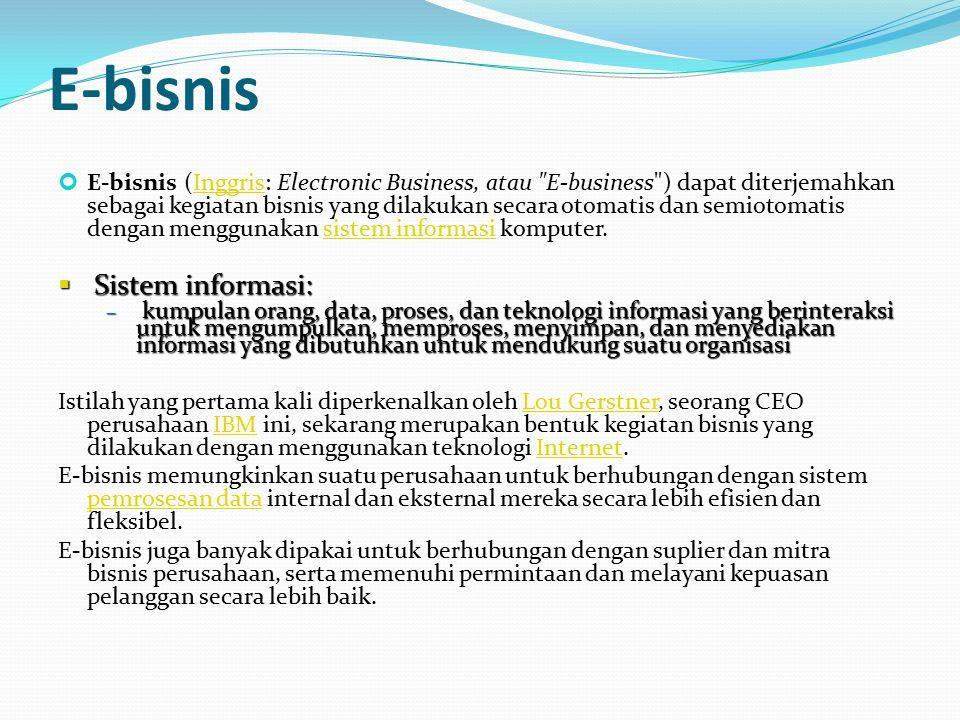 E-bisnis E-bisnis (Inggris: Electronic Business, atau
