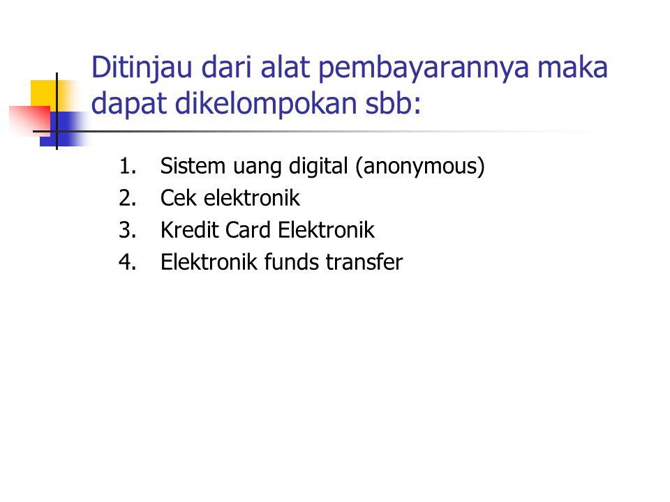 1.Sistem uang digital (anonymous) 2.Cek elektronik 3.Kredit Card Elektronik 4.Elektronik funds transfer Ditinjau dari alat pembayarannya maka dapat di