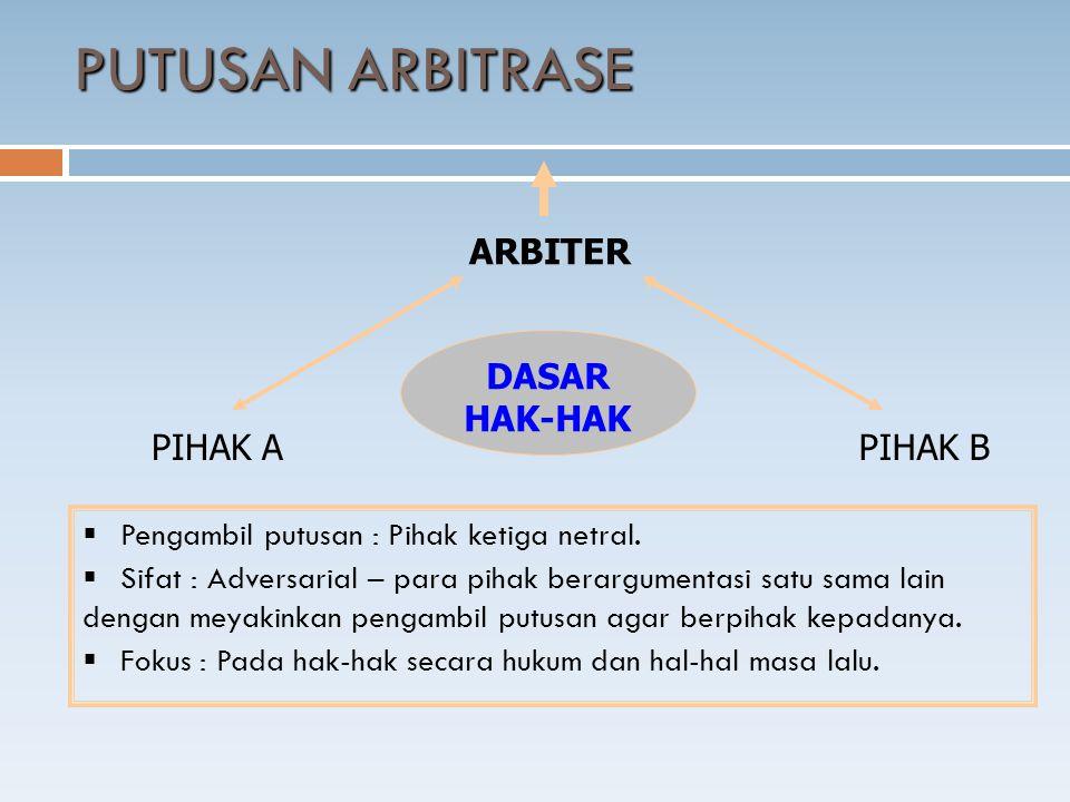 DASAR HAK-HAK  Pengambil putusan : Pihak ketiga netral.  Sifat : Adversarial – para pihak berargumentasi satu sama lain dengan meyakinkan pengambil