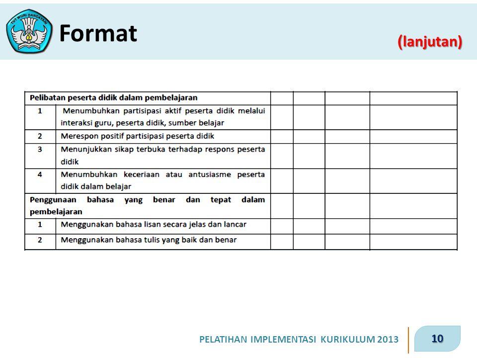 10 PELATIHAN IMPLEMENTASI KURIKULUM 2013 ( lanjutan) Format