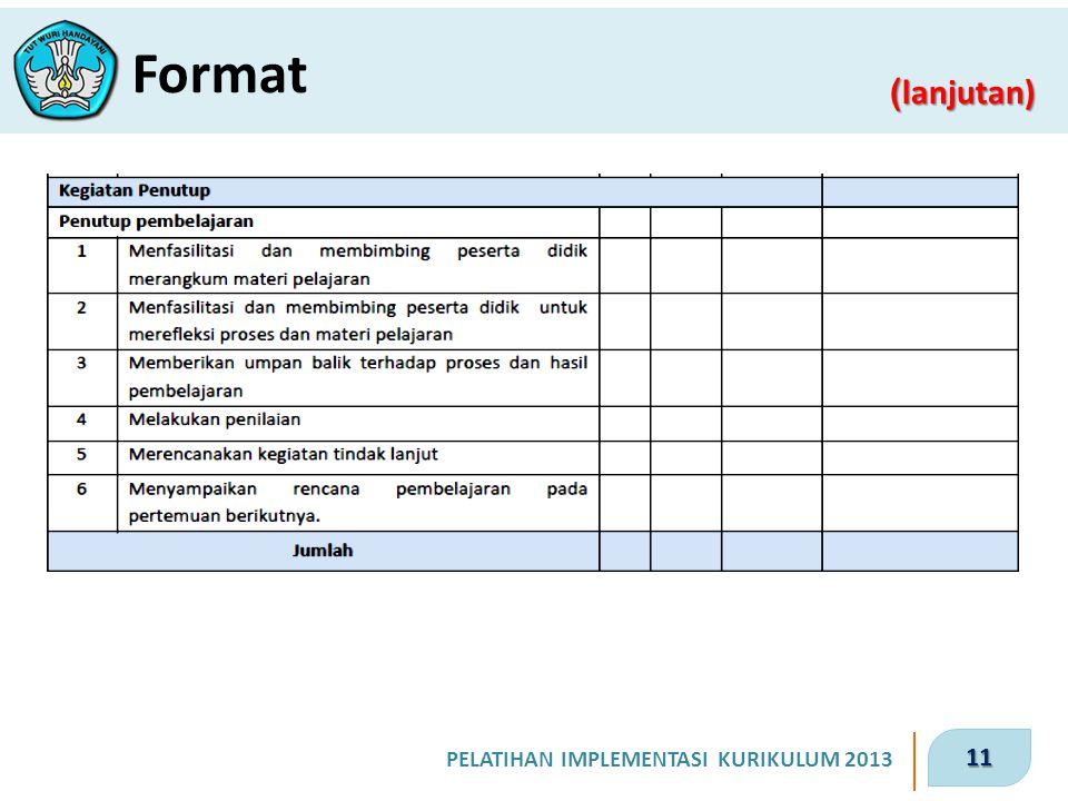11 PELATIHAN IMPLEMENTASI KURIKULUM 2013 ( lanjutan) Format