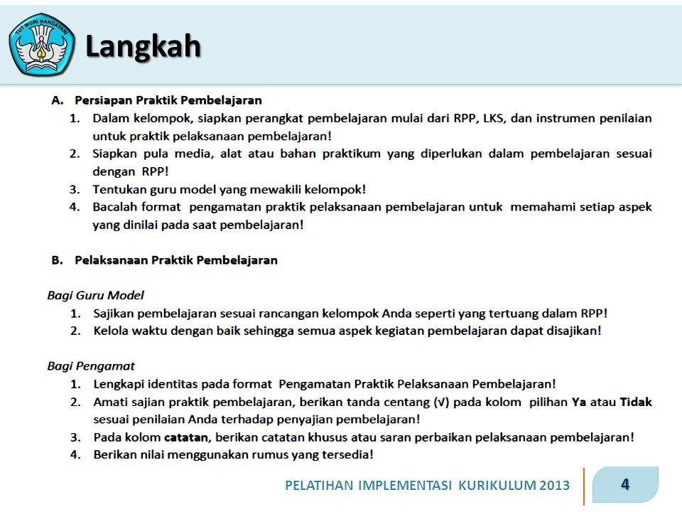 4 PELATIHAN IMPLEMENTASI KURIKULUM 2013 Langkah