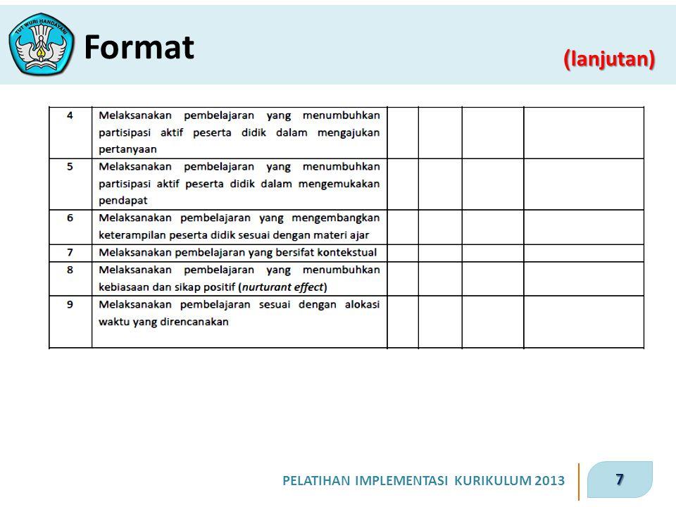 7 PELATIHAN IMPLEMENTASI KURIKULUM 2013 ( lanjutan) Format