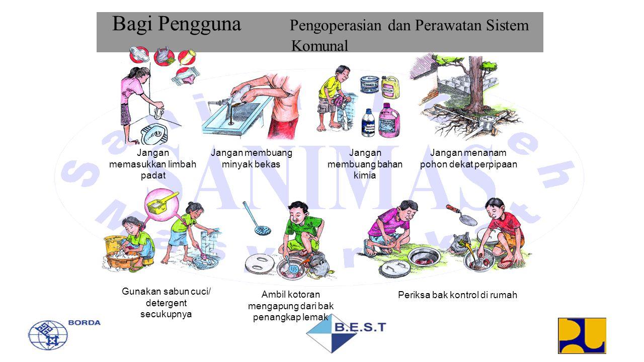 Bagi Pengguna Pengoperasian dan Perawatan Sistem Komunal Jangan memasukkan limbah padat Jangan membuang minyak bekas Jangan membuang bahan kimia Janga