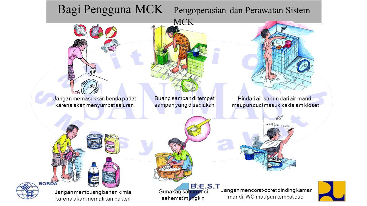 Bagi Pengguna MCK Pengoperasian dan Perawatan Sistem MCK Jangan memasukkan benda padat karena akan menyumbat saluran Buang sampah di tempat sampah yan