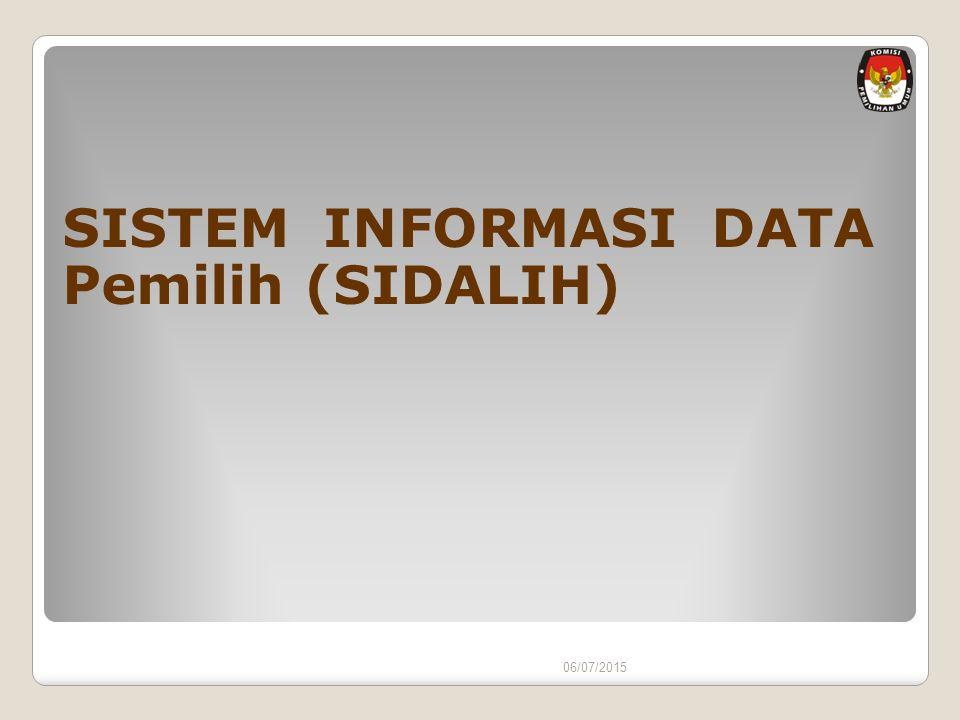 06/07/2015 SISTEM INFORMASI DATA Pemilih (SIDALIH)