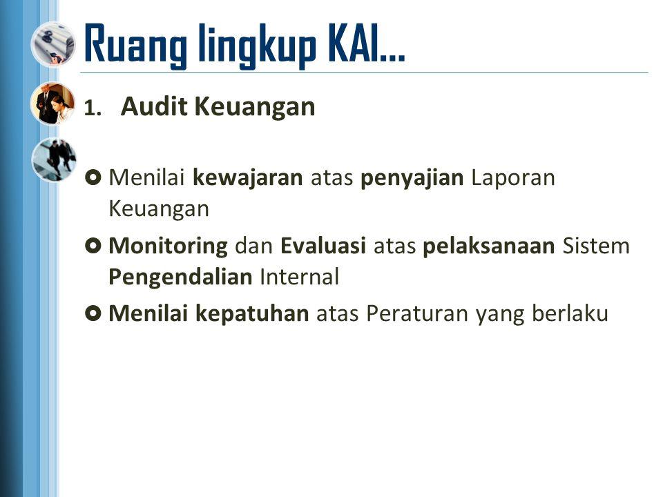 Ruang lingkup KAI… 1. Audit Keuangan  Menilai kewajaran atas penyajian Laporan Keuangan  Monitoring dan Evaluasi atas pelaksanaan Sistem Pengendalia