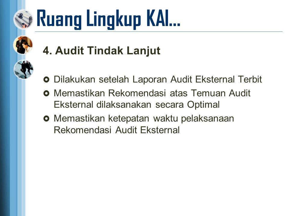Ruang Lingkup KAI… 4. Audit Tindak Lanjut  Dilakukan setelah Laporan Audit Eksternal Terbit  Memastikan Rekomendasi atas Temuan Audit Eksternal dila