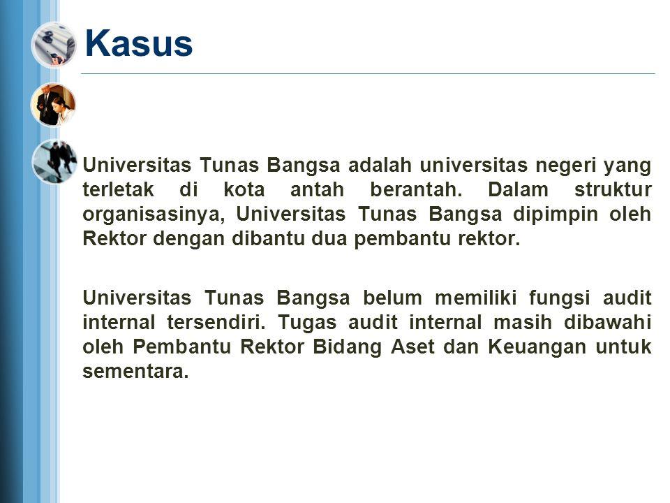 Kasus Universitas Tunas Bangsa adalah universitas negeri yang terletak di kota antah berantah. Dalam struktur organisasinya, Universitas Tunas Bangsa