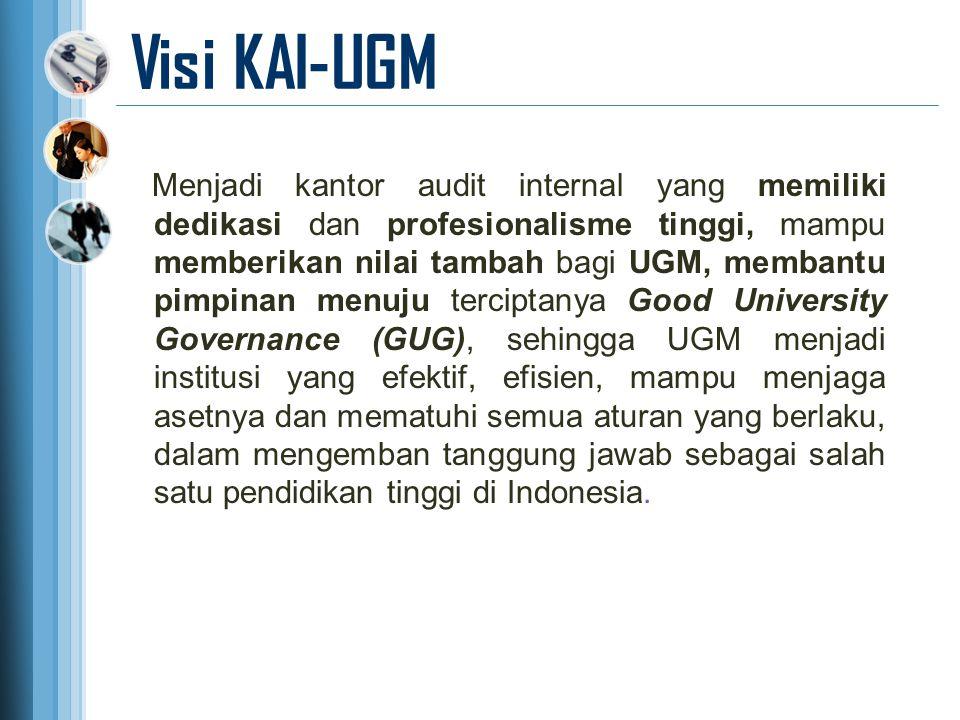 Visi KAI-UGM Menjadi kantor audit internal yang memiliki dedikasi dan profesionalisme tinggi, mampu memberikan nilai tambah bagi UGM, membantu pimpina