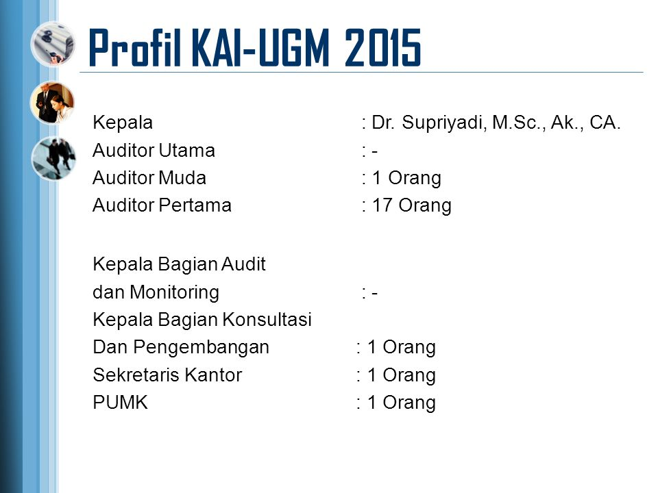 Profil KAI-UGM 2015 Kepala Bagian Audit dan Monitoring : - Kepala Bagian Konsultasi Dan Pengembangan: 1 Orang Sekretaris Kantor: 1 Orang PUMK: 1 Orang