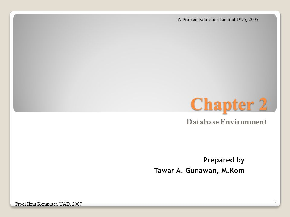 Chapter 2 Database Environment 1 © Pearson Education Limited 1995, 2005 Prodi Ilmu Komputer, UAD, 2007 Prepared by Tawar A.