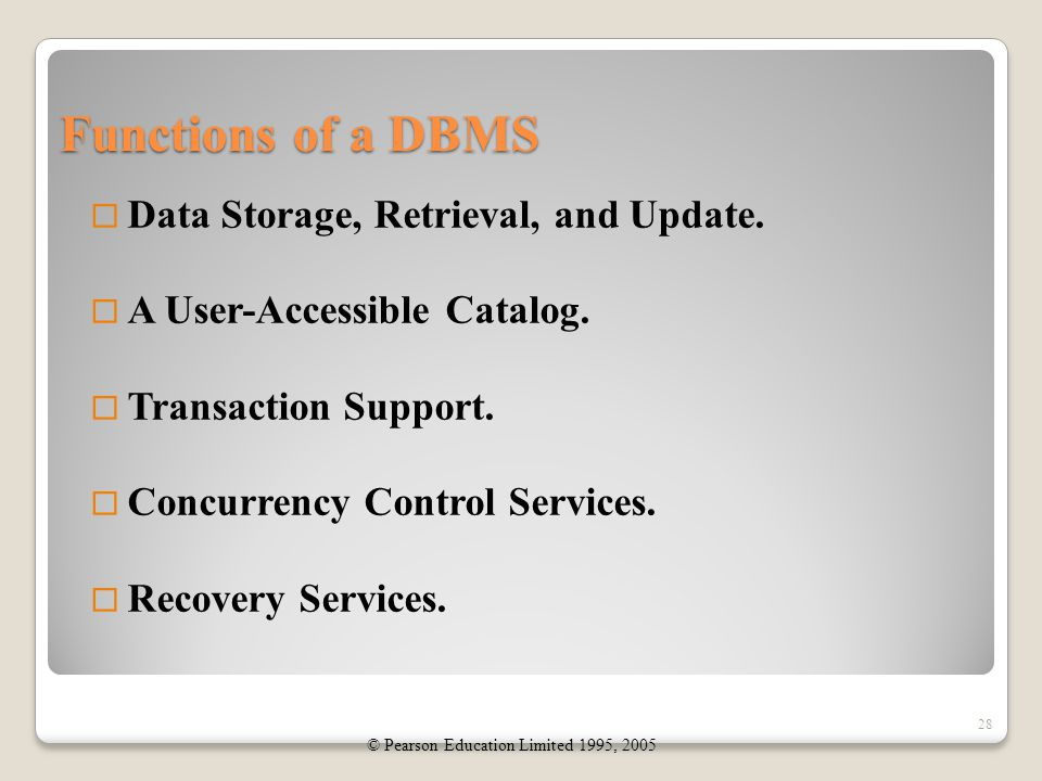 Functions of a DBMS  Data Storage, Retrieval, and Update.