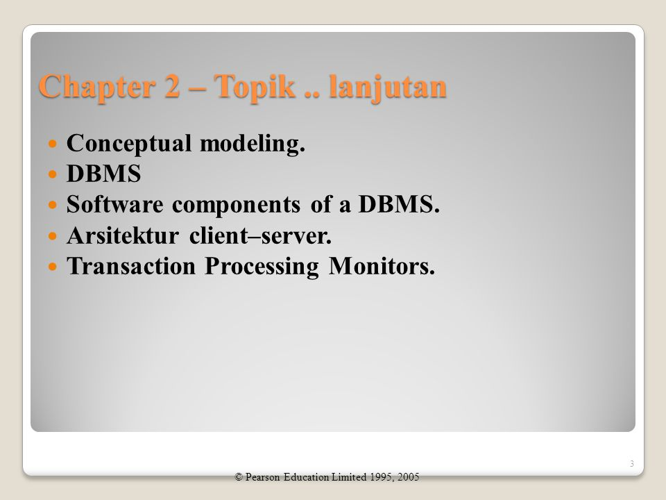 Chapter 2 – Topik..lanjutan Conceptual modeling. DBMS Software components of a DBMS.