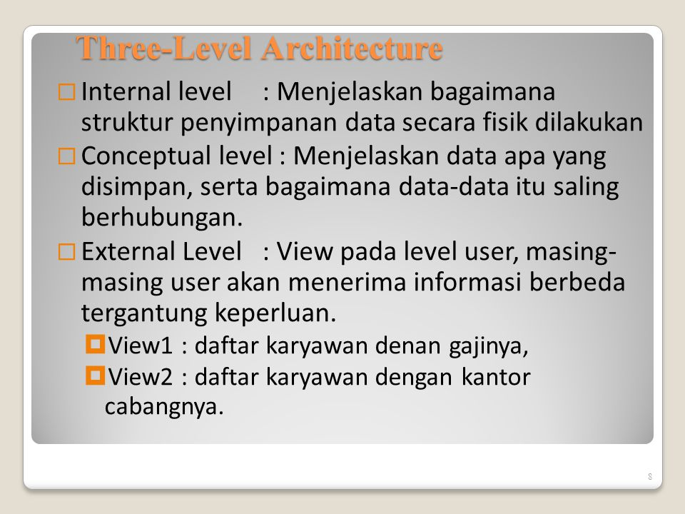 ANSI-SPARC Three-Level Architecture  External Level  Users' view of the database.