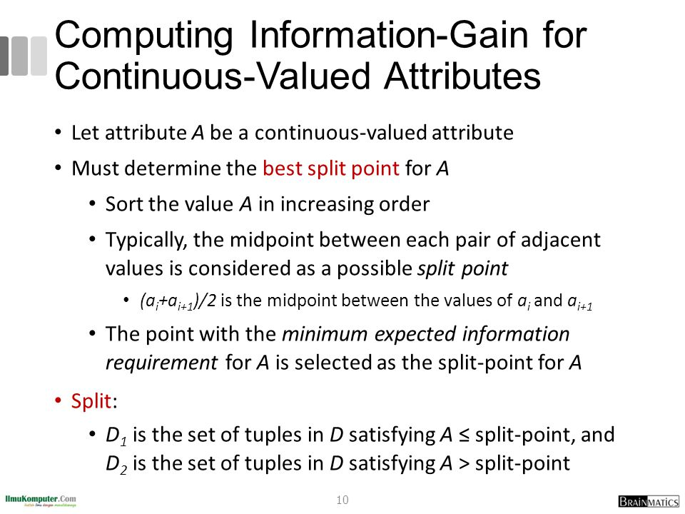 Computing Information-Gain for Continuous-Valued Attributes Let attribute A be a continuous-valued attribute Must determine the best split point for A