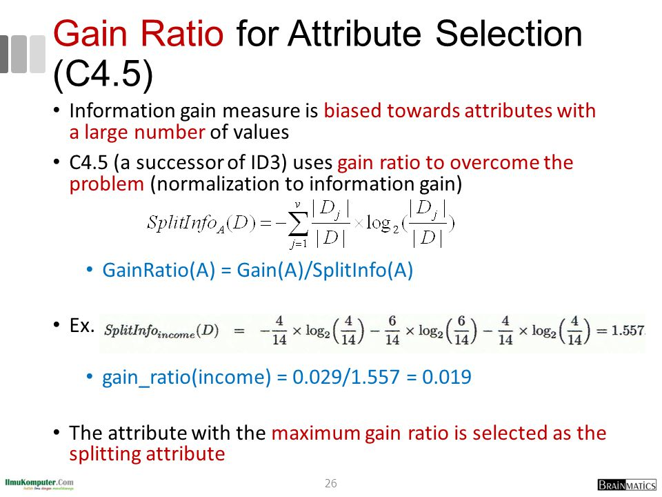 Gain Ratio for Attribute Selection (C4.5) Information gain measure is biased towards attributes with a large number of values C4.5 (a successor of ID3