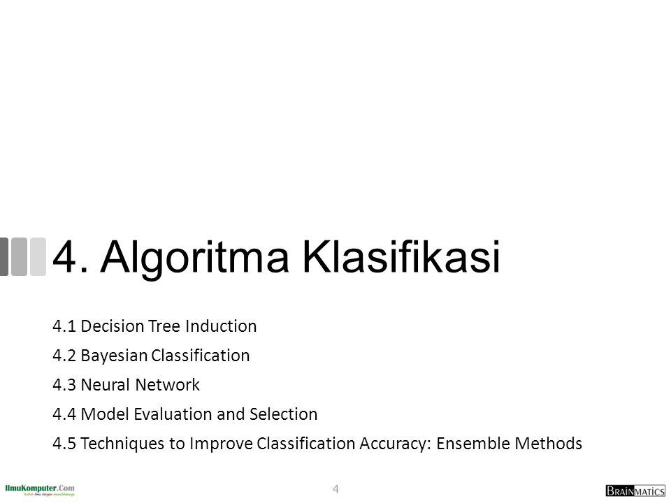 Rangkuman Classification is a form of data analysis that extracts models describing important data classes Effective and scalable methods have been developed for decision tree induction, Naive Bayesian classification, rule-based classification, and many other classification methods Evaluation metrics include: accuracy, sensitivity, specificity, precision, recall, F measure, and Fß measure Stratified k-fold cross-validation is recommended for accuracy estimation.
