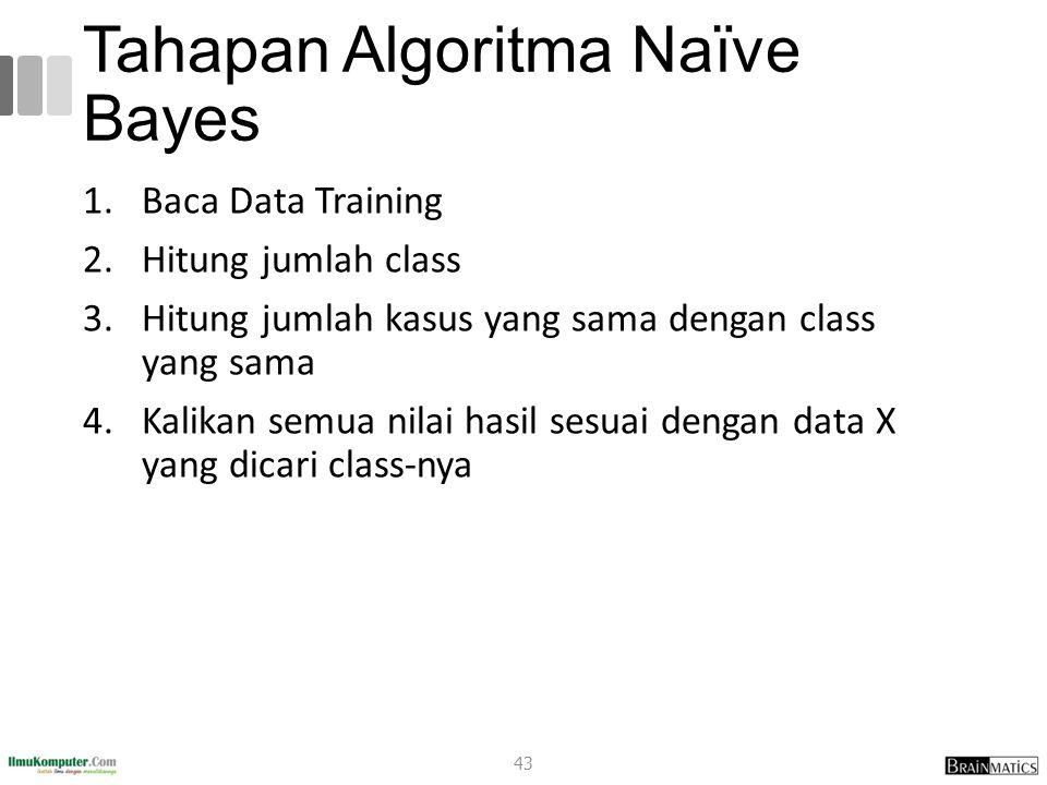 Tahapan Algoritma Naïve Bayes 1.Baca Data Training 2.Hitung jumlah class 3.Hitung jumlah kasus yang sama dengan class yang sama 4.Kalikan semua nilai hasil sesuai dengan data X yang dicari class-nya 43