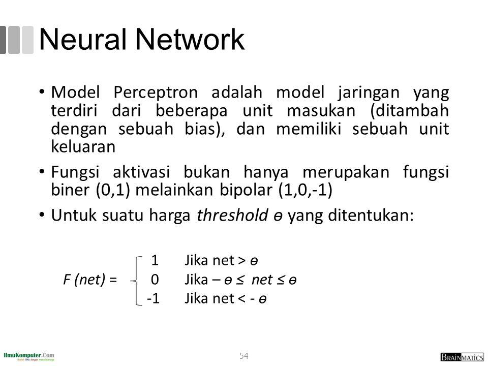 Neural Network Model Perceptron adalah model jaringan yang terdiri dari beberapa unit masukan (ditambah dengan sebuah bias), dan memiliki sebuah unit keluaran Fungsi aktivasi bukan hanya merupakan fungsi biner (0,1) melainkan bipolar (1,0,-1) Untuk suatu harga threshold ѳ yang ditentukan: 1Jika net > ѳ F (net) = 0Jika – ѳ ≤ net ≤ ѳ -1Jika net < - ѳ 54