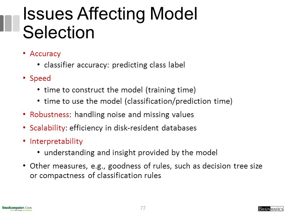 Issues Affecting Model Selection Accuracy classifier accuracy: predicting class label Speed time to construct the model (training time) time to use th
