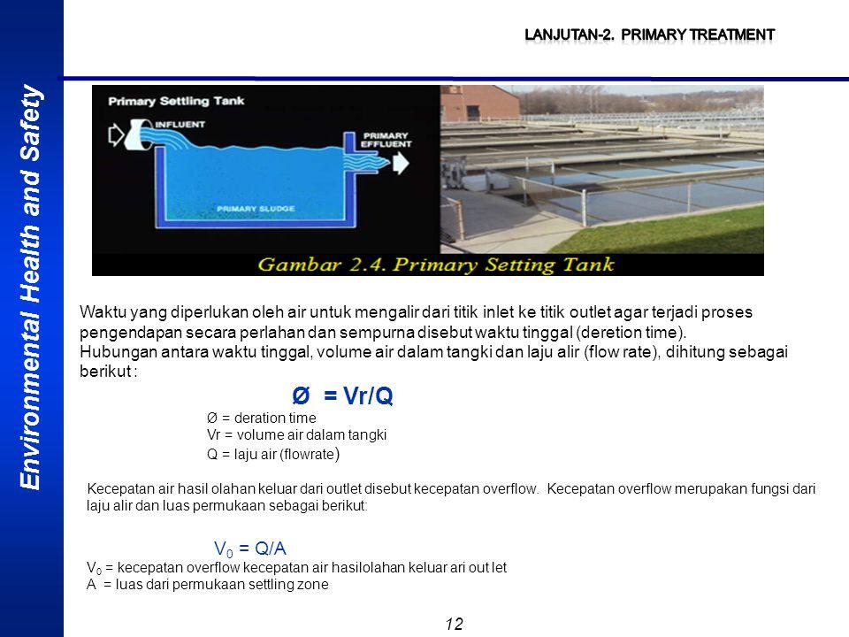 Environmental Health and Safety 12 Waktu yang diperlukan oleh air untuk mengalir dari titik inlet ke titik outlet agar terjadi proses pengendapan seca