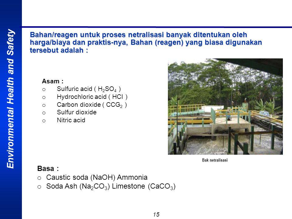 Environmental Health and Safety 15 Bahan/reagen untuk proses netralisasi banyak ditentukan oleh harga/biaya dan praktis-nya, Bahan (reagen) yang biasa