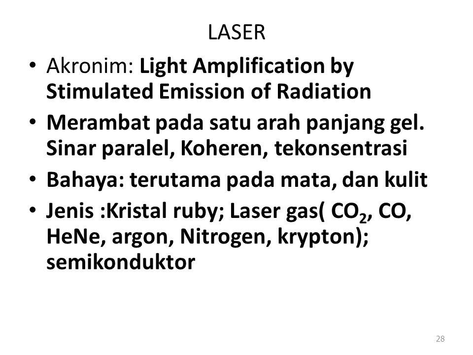 LASER Akronim: Light Amplification by Stimulated Emission of Radiation Merambat pada satu arah panjang gel. Sinar paralel, Koheren, tekonsentrasi Baha